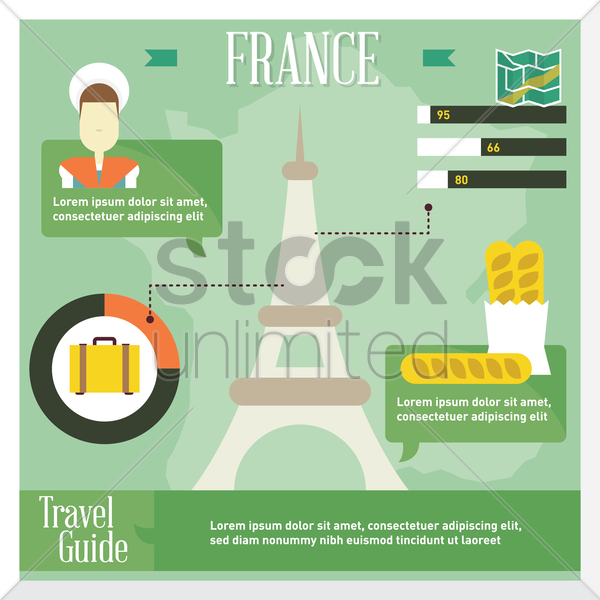 france travel infographic vector graphic