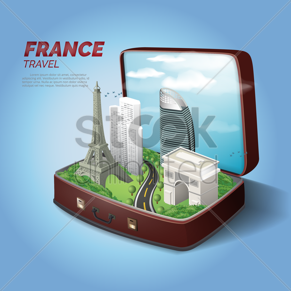 france travel vector graphic