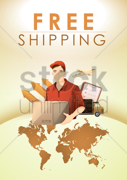 Free free shipping design vector graphic
