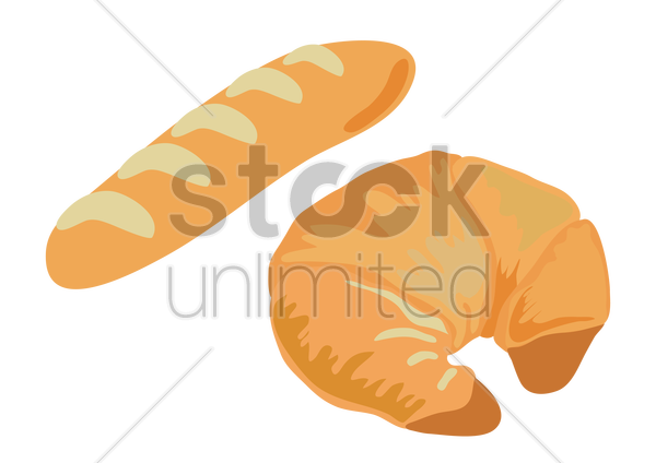 french baguette and croissant vector graphic