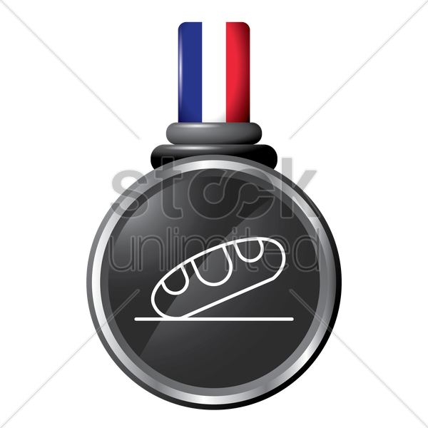 french bread in a medal vector graphic