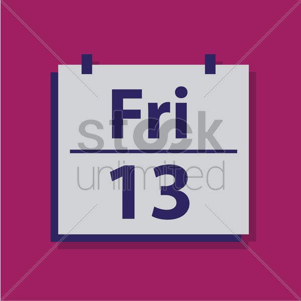 friday 13 on counter calender vector graphic