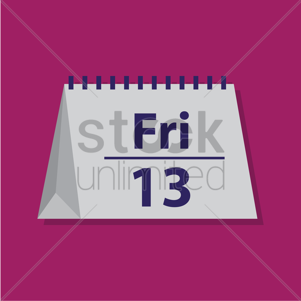 Free friday 13 on table calender vector graphic
