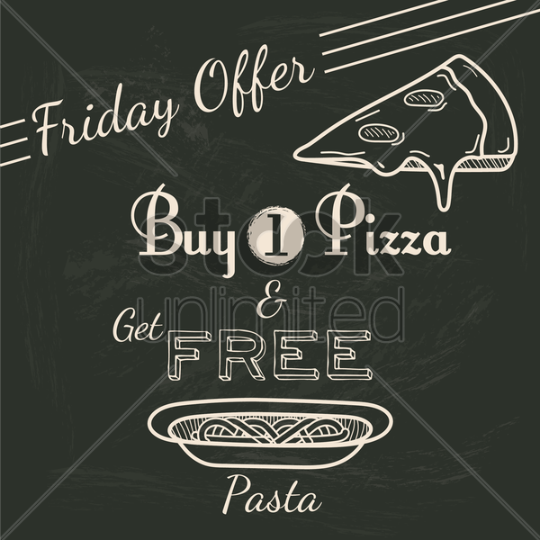friday offer for pizza and pasta vector graphic