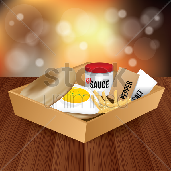 fried egg burger with french fries in food box vector graphic