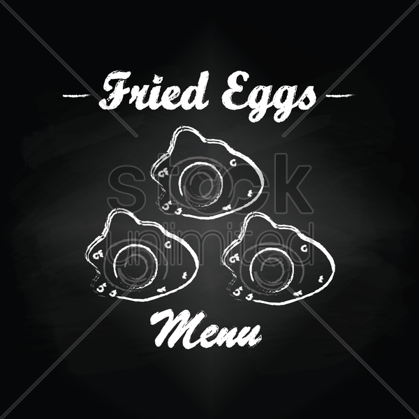 fried eggs menu card design vector graphic