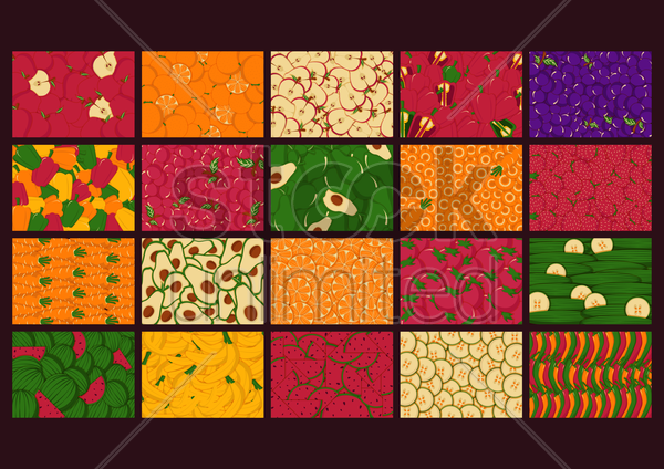 fruit and vegetable backgrounds vector graphic