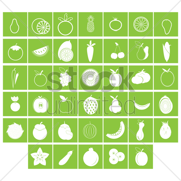 fruit and vegetable collection vector graphic