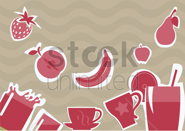 Free fruits and drinks on wavy background vector graphic