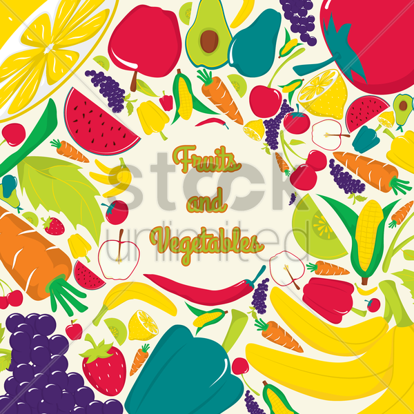 fruits and vegetables vector graphic
