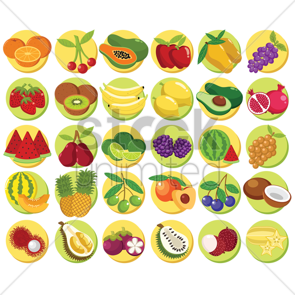 Free fruits collection vector graphic