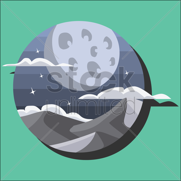 full moon in a starry night vector graphic