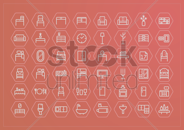 furniture collection vector graphic