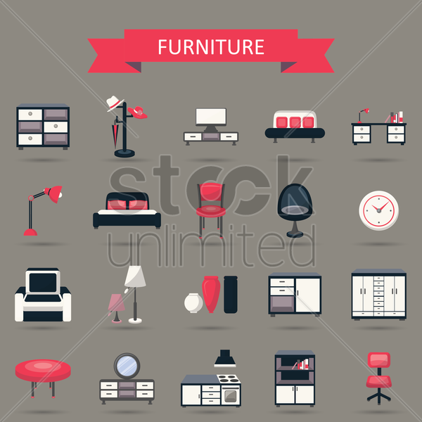 Free furniture collection vector graphic