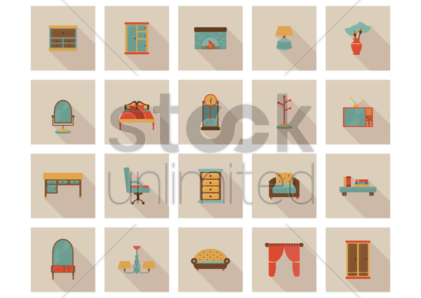 furniture icons vector graphic