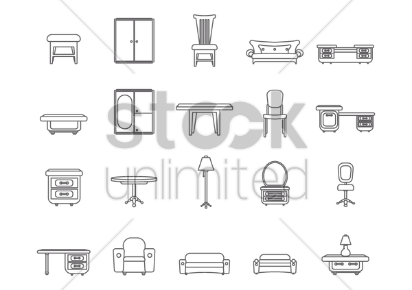 furniture set vector graphic
