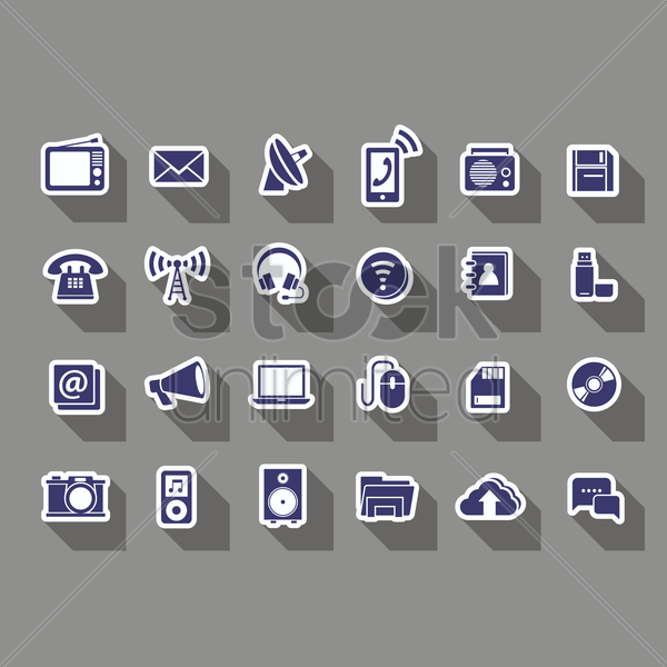 Free gadgets and technology icons vector graphic