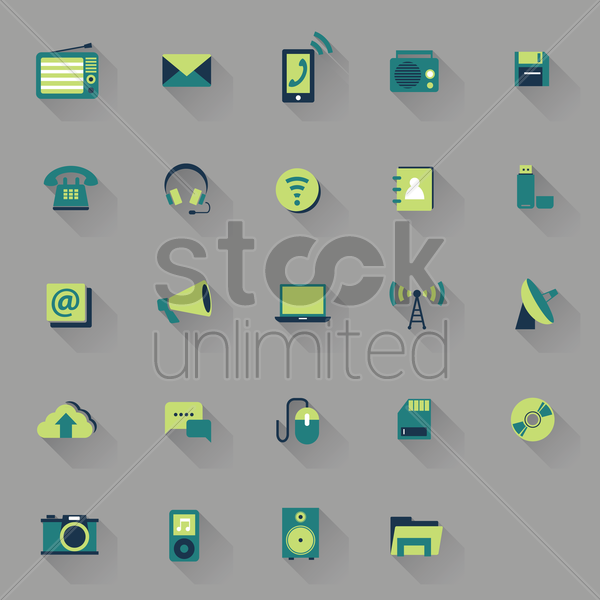 gadgets and technology icons vector graphic