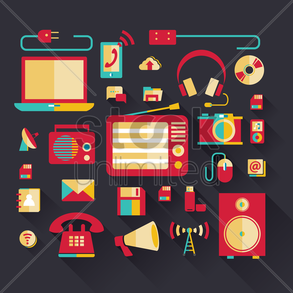 gadgets and technology ions vector graphic