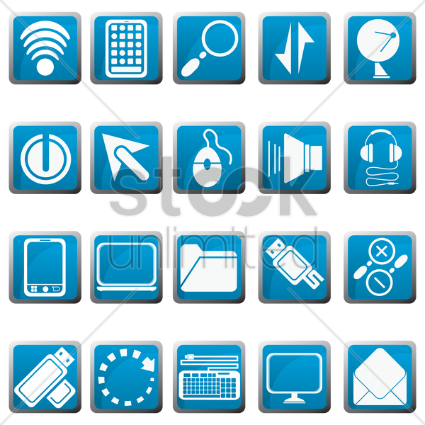 gadgets and user interface icons vector graphic