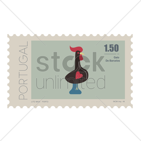 galo de barcelos postage stamp vector graphic