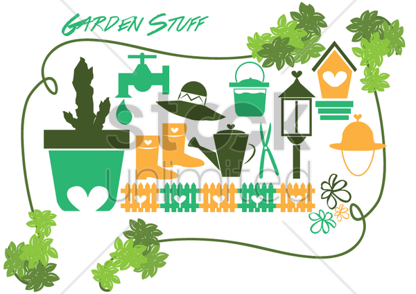 garden items vector graphic