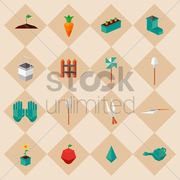 gardening icons vector graphic