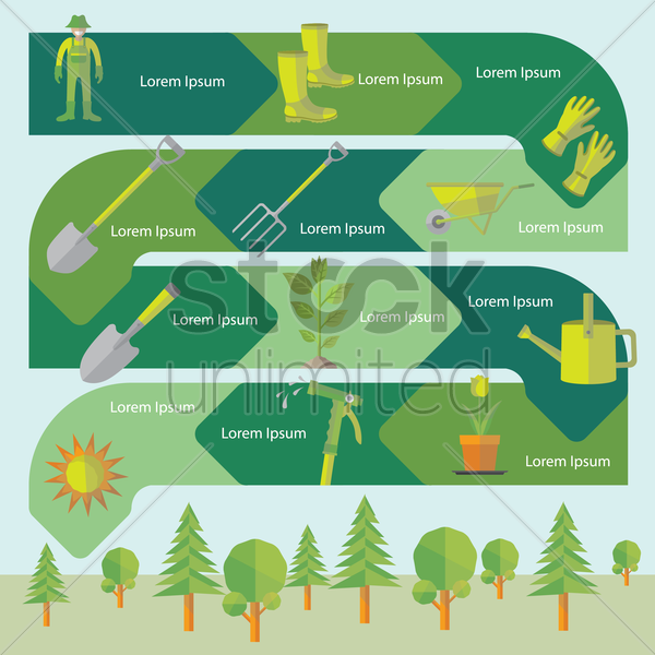 gardening infographic vector graphic