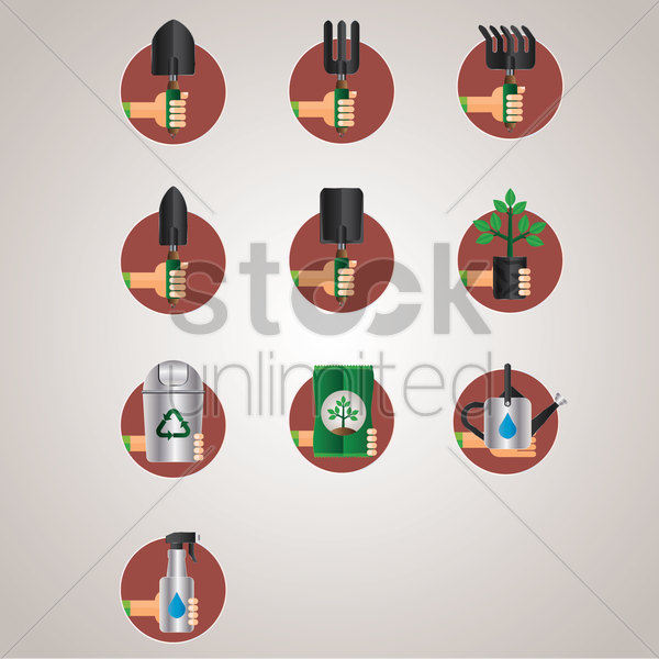 gardening tools and equipment vector graphic