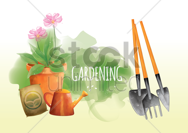 gardening tools vector graphic