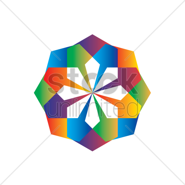 geometric flower with rainbow colours vector graphic
