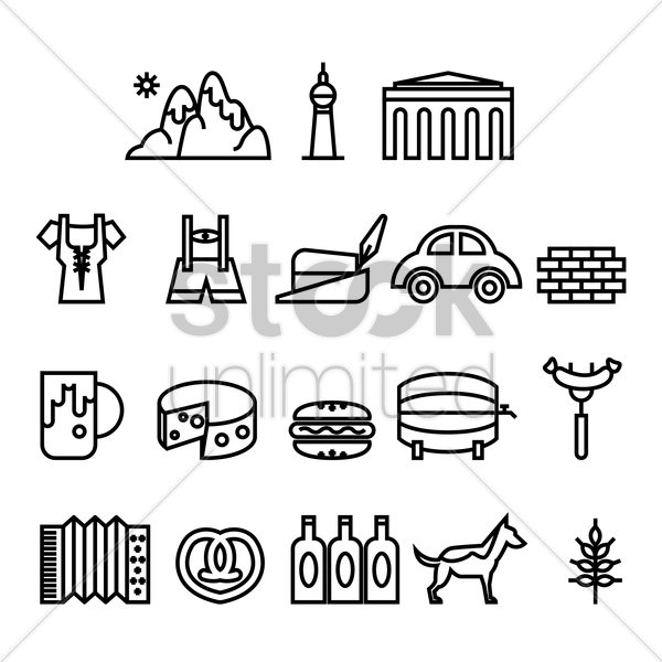 german icon set vector graphic