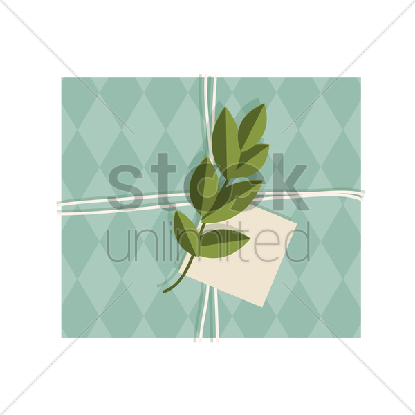gift box with a leaf and tag on it vector graphic