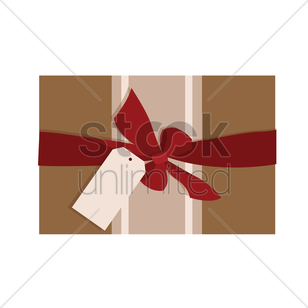 gift box with a ribbon and blank tag vector graphic