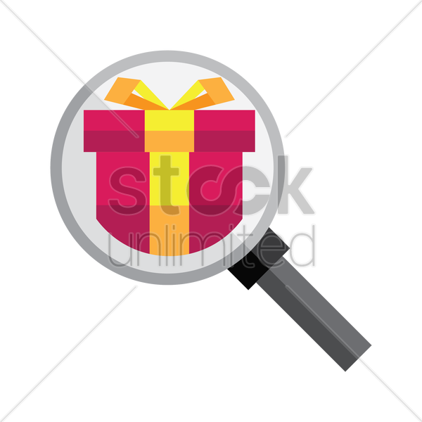 gift box with magnifying glass vector graphic