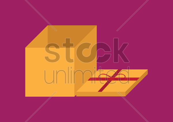 Free gift box with red ribbon vector graphic