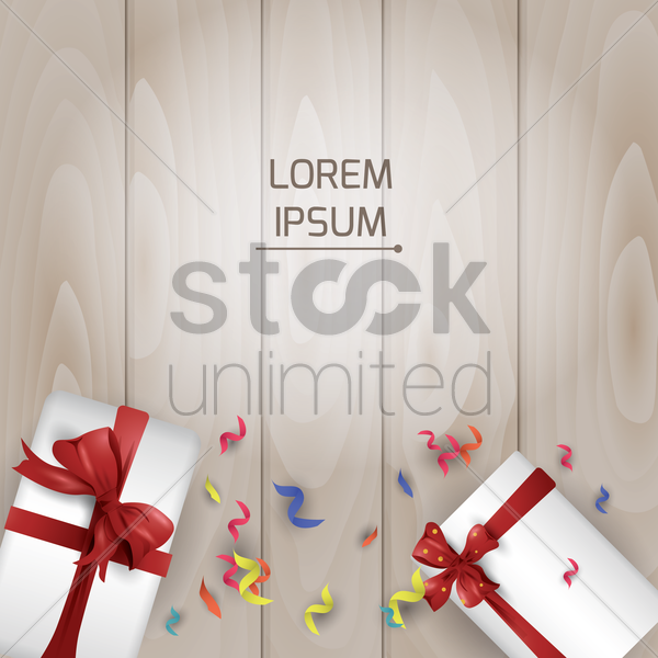 gift boxes on wooden background vector graphic