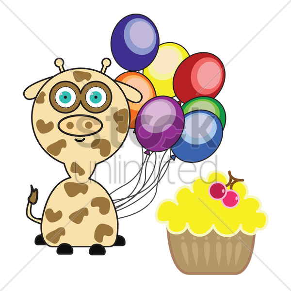 Free giraffe with colorful balloons and cupcake vector graphic