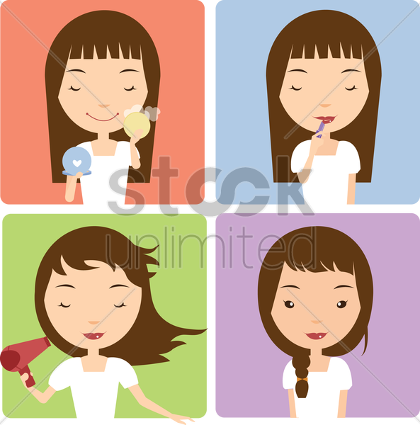 Free girl applying make up vector graphic