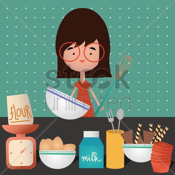 girl baking cupcakes vector graphic