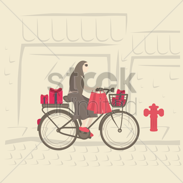 girl carrying gifts on bicycle vector graphic