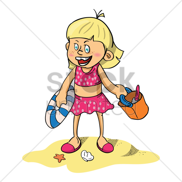 girl enjoying at the beach vector graphic