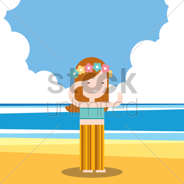 girl holidaying on beach vector graphic
