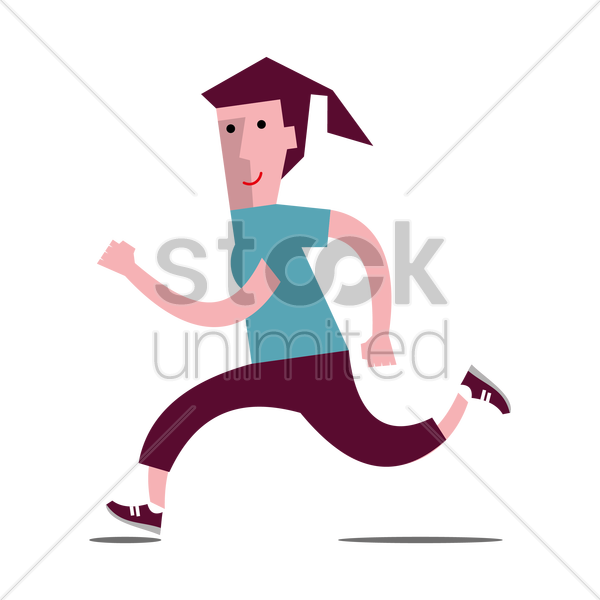girl jogging vector graphic