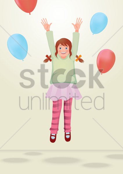girl jumping with balloons vector graphic