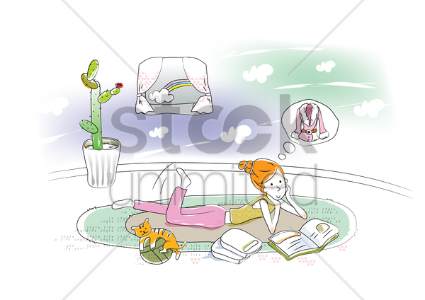 girl lying on floor and daydreaming vector graphic