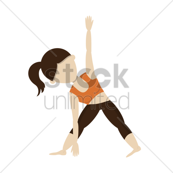 girl practicing yoga in triangle pose vector graphic