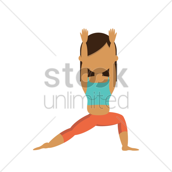 girl practicing yoga in warrior pose vector graphic