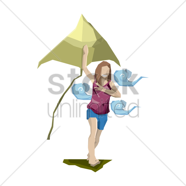girl running with kite vector graphic