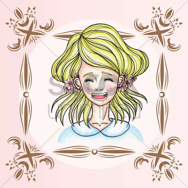girl with expression vector graphic